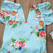 Load image into Gallery viewer, Baby Girls Floral One-pieces Romper Headband Clothes Set 0-24M
