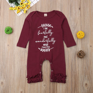 Newborn Baby Girl Clothes Christmas Cute Ruffle Romper Letter Long Sleeve Jumpsuit Outfits Clothes Baby Girls 0-18M