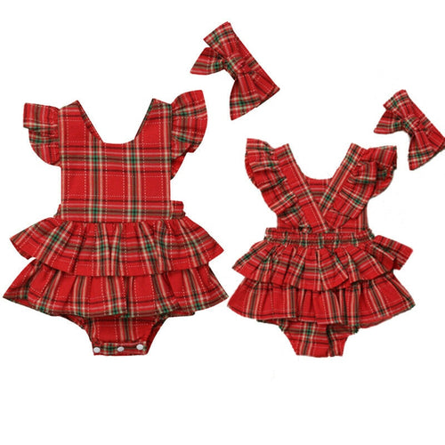 Toddler Infant Baby Girl Clothes Christmas Check Romper Headband 2 pc Set