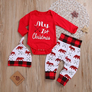 My First Christmas Baby Girl 3pcs/set Bow Headband+Long Sleeve White Deer Romper+Sequins Red Pants 1st Xmas Clothes Outfits