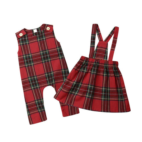 Newborn Infant Kid Baby Girl Sister Match Christmas Sleeveless Romper Sling Strap Skirt Plaid Girl Clothes Xmas Outfits