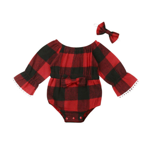3-24M Xmas Newborn Baby Girl Clothes Plaid Bowknot Romper Flare Long Sleeve One-Piece Jumpsuit Overall Outfits Christmas Gifts