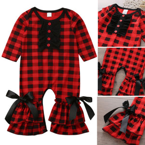 Newborn Baby Girls Ruffle Cotton Romper Jumpsuit Clothes Outfits 0-24M