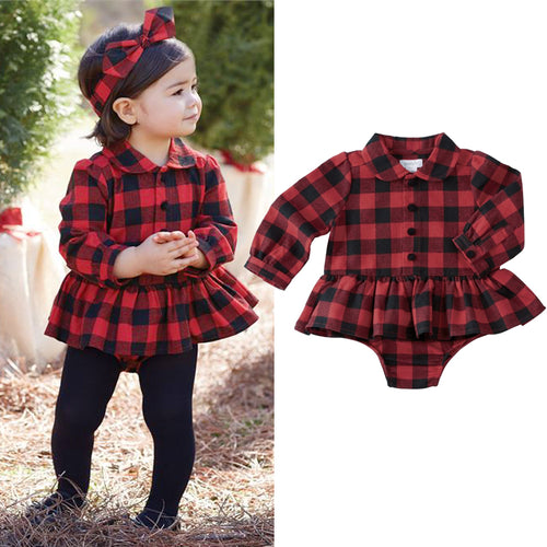 Baby Girls Plaid Holiday Jumpsuit Outfit