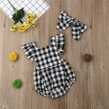 Load image into Gallery viewer, Infant Baby Girls Cotton Plaid Jumpsuit Romper +Headbands Outfits Clothes 2PCS