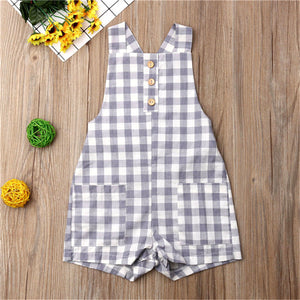 Baby Rompers Sleeveless Backless Plaid Jumpsuit Toddler Kids