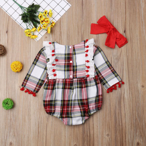 Baby Girl Long Sleeve Lace Plaid Romper Jumpsuit Outfit Clothes
