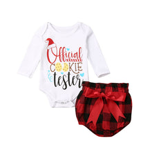 Load image into Gallery viewer, 0-24M Christmas Newborn Infant Baby Girl Clothing Set Long Sleeve Letter Romper+Bow Bloomers Shorts Red Plaid Xmas Baby Costumes