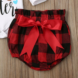 0-24M Christmas Newborn Infant Baby Girl Clothing Set Long Sleeve Letter Romper+Bow Bloomers Shorts Red Plaid Xmas Baby Costumes