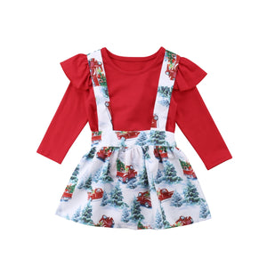 Christmas Baby Girls Clothes Long Sleeves Romper + Suspender Skirt Clothes Outfit Costume