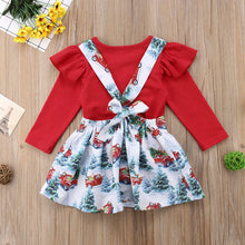 Load image into Gallery viewer, Christmas Baby Girls Clothes Long Sleeves Romper + Suspender Skirt Clothes Outfit Costume