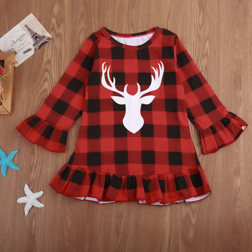 Christmas Deer Baby Girls Dresses Kid Checked Petal Sleeve Plaid Outfit Clothes Dress