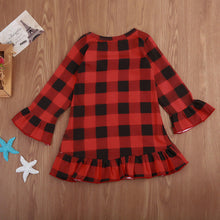 Load image into Gallery viewer, Christmas Deer Baby Girls Dresses Kid Checked Petal Sleeve Plaid Outfit Clothes Dress