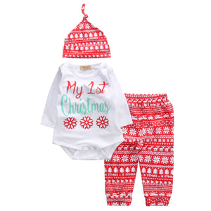 3PC Set My 1st Christmas Newborn Baby Boy Girl Long Sleeve Cotton Romper Tops+Long Pant Hat Outfits Xmas Clothes 0-18M