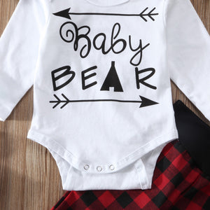 Red Plaid Christmas Infant Baby Girls Bear Romper Pants Leggings 3Pcs Baby Set Clothing Outfits Clothes