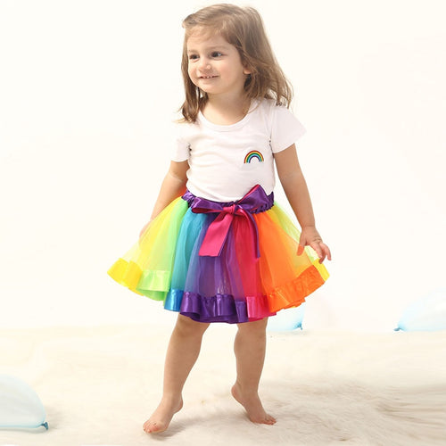 Tutu Skirt Baby Girls Rainbow Tulle Skirts Children Clothes 0-2 Year