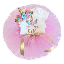 Load image into Gallery viewer, Baby Girls Unicorn Romper Tutu Dress Headband Outfit Set