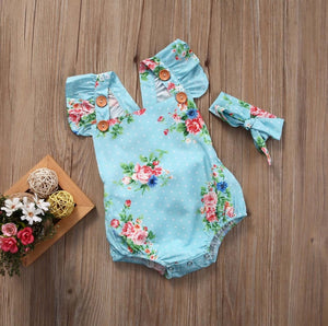 Baby Girls Floral One-pieces Romper Headband Clothes Set 0-24M
