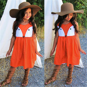 Cute Sleeveless Baby Girls Toddler Kids Fox Dress New Fashion Baby Girl Party Wedding Dresses 1-5T