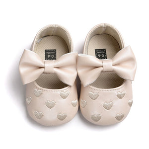Baby Girls Heart-Shaped Mary Jane Big Bow Soft Bottom Shoes Crib Ballet Dress Shoes