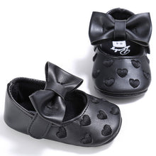 Load image into Gallery viewer, Baby Girls Heart-Shaped Mary Jane Big Bow Soft Bottom Shoes Crib Ballet Dress Shoes
