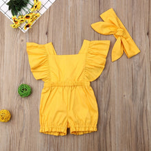 Load image into Gallery viewer, Newborn Baby Girl Clothes Fly Sleeve Ruffle Romper Jumpsuit Headband 2PCS Outfits Set