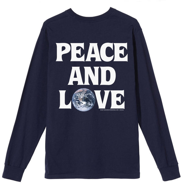Stussy Peace and Love LS Navy