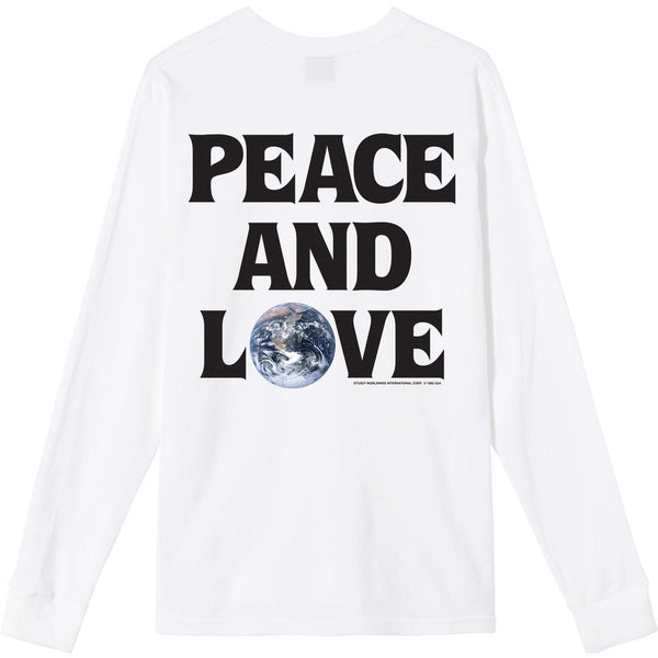 Stussy Peace and Love LS White