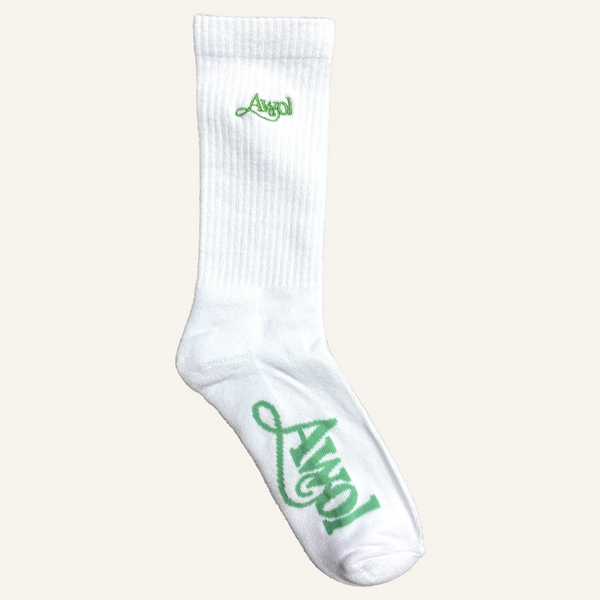 AWOL Socks: White w/ Green Embroidery
