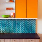 Semihandmade Orange Color Cabinet Door