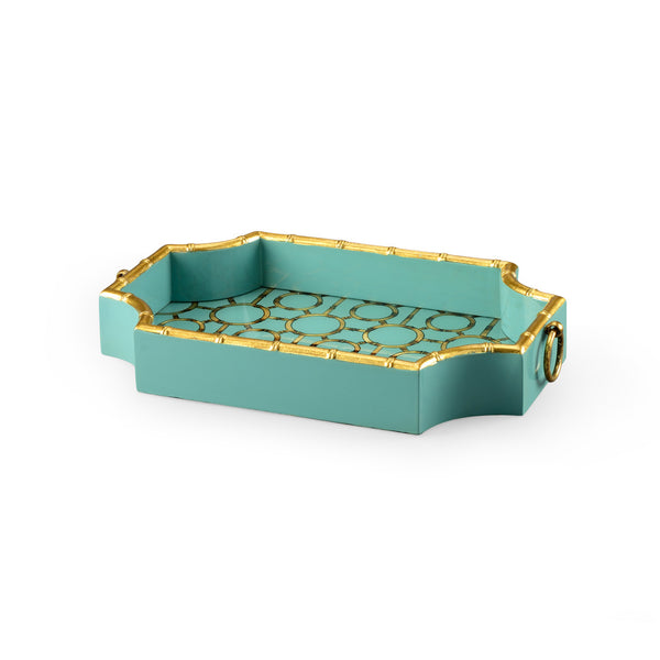 Chelsea House Bamboo Tray   Teal 382508