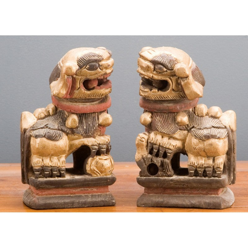 Lovecup Carved Foo Dogs Pair Wooden