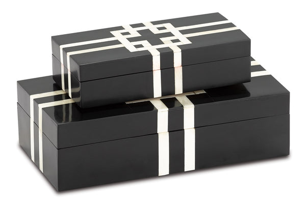 Currey and Company Black and White Lines Boxes Set of 2 1200-0372