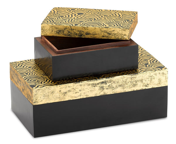 Currey and Company Golden Boxes Set of 2 1200-0374