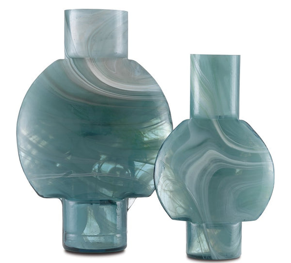 Currey and Company Lollipop Turquoise Glass Vases Set of 2 1200-0376