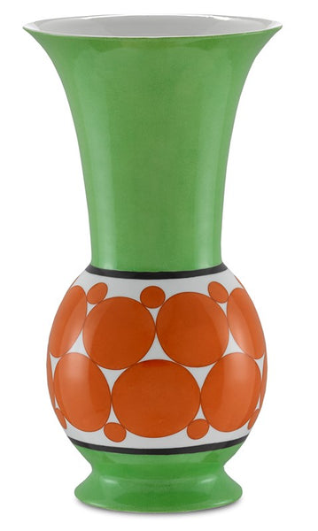 Currey and Company De Luca Green and Orange Vase 1200-0388