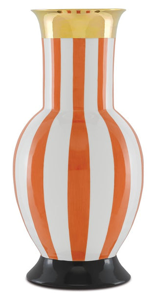 Currey and Company De Luca Coral Stripe Large Vase 1200-0391