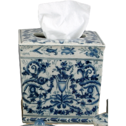 Lovecup Ceramic Blue and White Tissue Holder Box L631