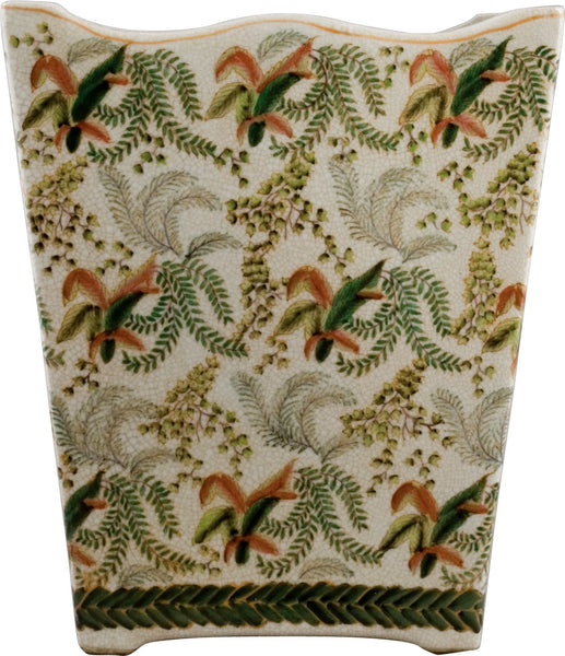 Lovecup Ceramic Fern Pattern Waste Basket L909