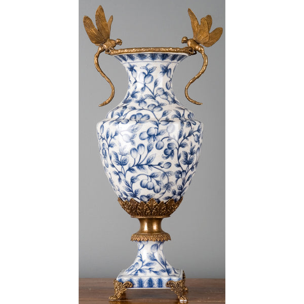 Lovecup Blue and White with Dragonfly Handles Vase L051