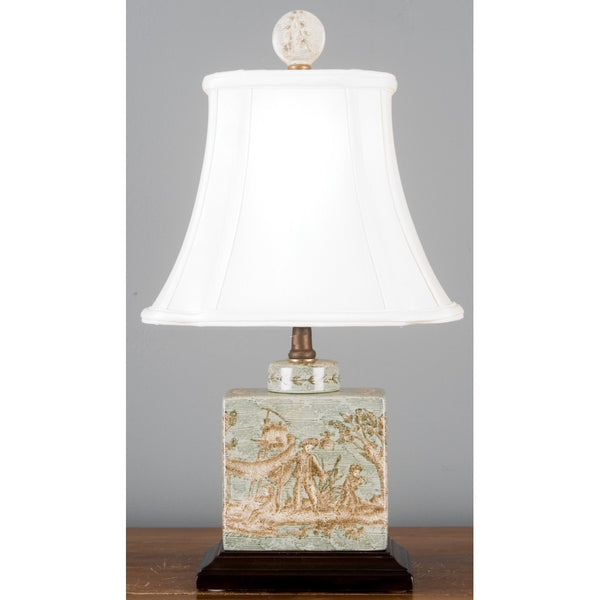 Lovecup Celadon Toile Square Table Lamp L4055