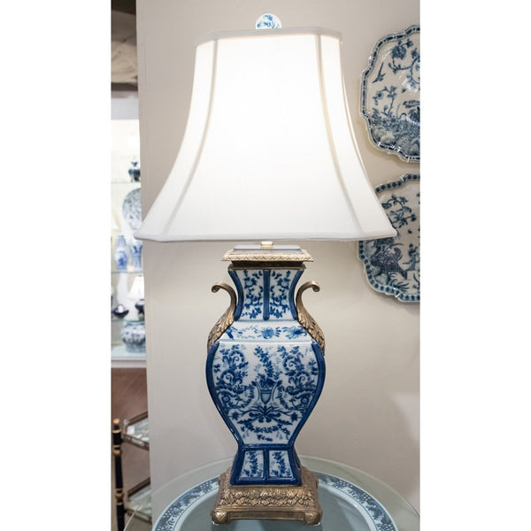 Lovecup PORCELAIN VASS LAMP WITH BRONZE-AZURE L094