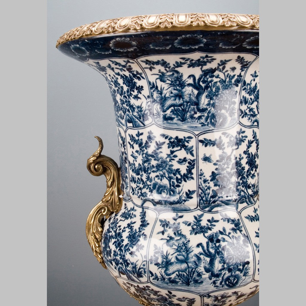 Lovecup Blue and White Seabrook Porcelain Urn with Bronze Ormolu L195