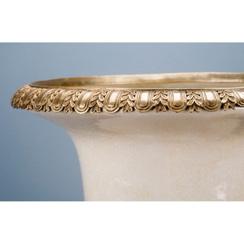 Lovecup White Crackle Porcelain Urn with Bronze Ormolu L196