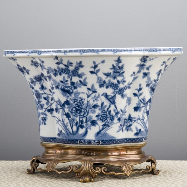 Lovecup Porcelain Lotus Shape Planter With Bronze Base-Blue And White L207