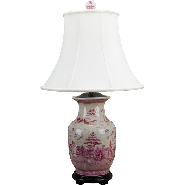 Lovecup Pink Toile de Jouy Table Lamp L4212