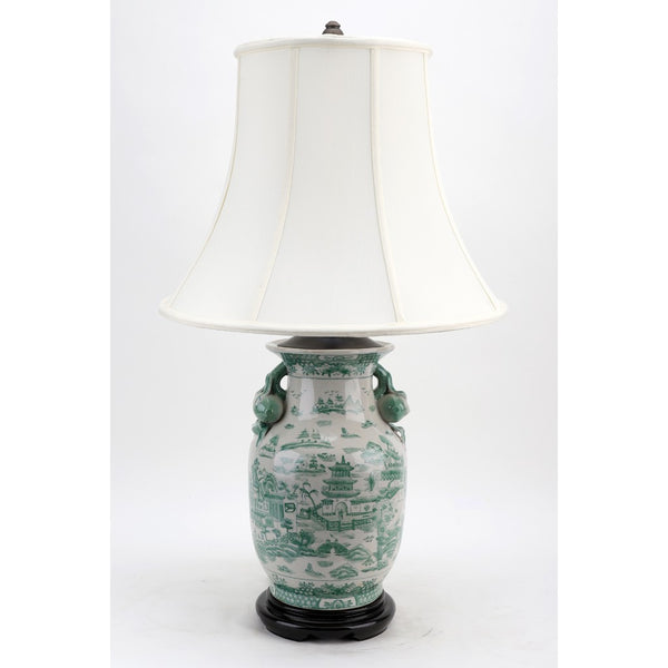 Lovecup Porcelain Lamp - Green And White Willow L142
