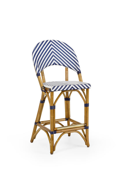 Lovecup Blue Rattan Counter Bar Stool L259