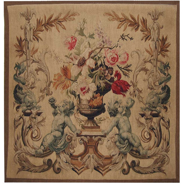 "36"" x 36"" Hand woven aubusson tapestry with backing and rod pocket."