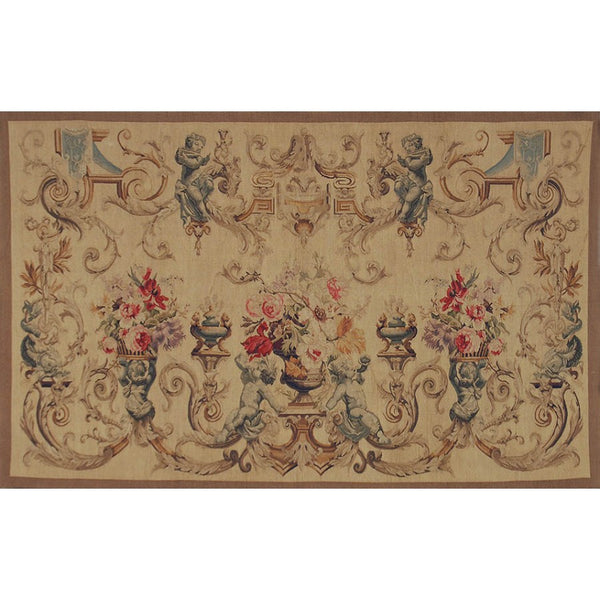 "48"" x 78"" Hand woven aubusson tapestry with backing and rod pocket."